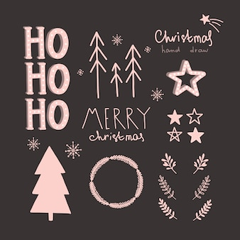 Vector christmas and new year hand drawn set