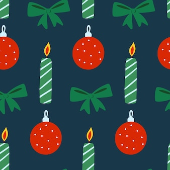 Вектор рождество новый год бесшовные модели лук свечи шар повторить печать зимний дизайн на синем