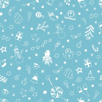 Vector christmas and new year seamless pattern with white doodles elements on light blue background