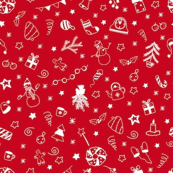 Vector christmas and new year seamless pattern with white doodles elements on red background