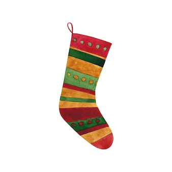 Vector christmas, new year stocking clip art isolated on white. colorful cozy winter holidays sock illustration.