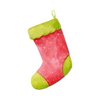 Vector christmas, new year stocking clip art isolated on white. cozy winter holidays sock illustration. red, green stocking design element.