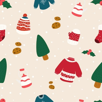 Vector christmas pattern. christmas seamless pattern