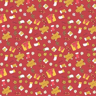 赤い背景の上のベクトルのクリスマスパターン