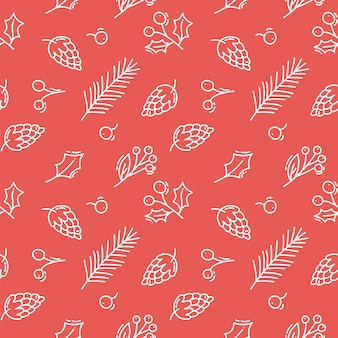 Vector christmas red seamless pattern with cones, berries and tree branches