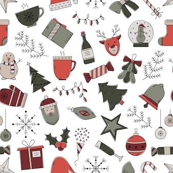 ベクトルクリスマスシームレスパターン。カラーアウトラインアイコンと新年の背景