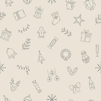 ベクトルクリスマスシームレスパターン。アウトラインアイコンと新年の背景
