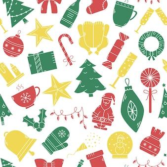 ベクトルクリスマスシームレスパターン。シンプルなスタイルのアイコンで新年の背景