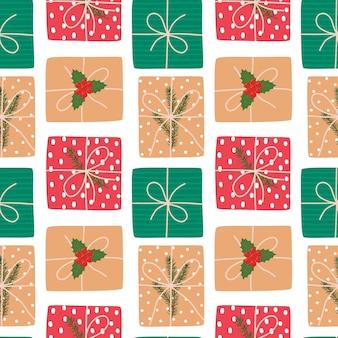 ギフトとベクトルクリスマスシームレスパターン。招待状、包装紙、クリスマスデコレーションに最適です。