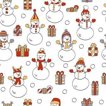 白い背景の上の雪だるまとギフトとベクトルクリスマスシームレスパターン。パッケージデザイン、カバー、テキスタイルプリント用