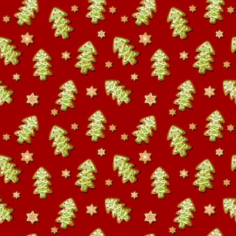 Vector christmas seamless pattern with tree gingerbread cookies and snowflakes.