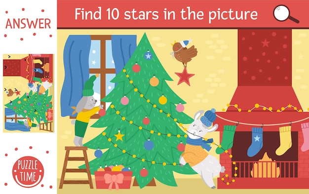 Vector christmas searching game with cute animals and fir tree. find hidden stars in the picture. simple fun educational winter printable activity for kids.