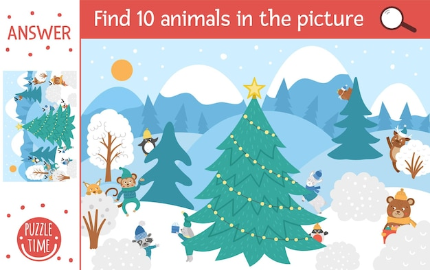 Vector christmas searching game with cute characters in winter forest. find hidden animals in the picture. simple fun educational new year printable activity for kids.