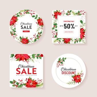 벡터 크리스마스 시즌 제공, 겨울 휴가 판매 카드, 크리스마스 특별 프로모션. 포인세티아 꽃, 홀리 베리, 겨우살이, 꽃 할인 개념, 포스터 디자인 일러스트레이션, 광고, 전단지. 세트