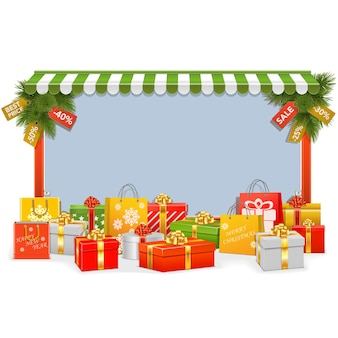 白い背景で隔離のベクトルクリスマスショッピングボード