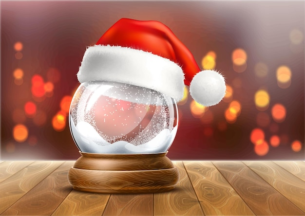 Vector christmas snowglobe with santa hat on wood table on blurred lights