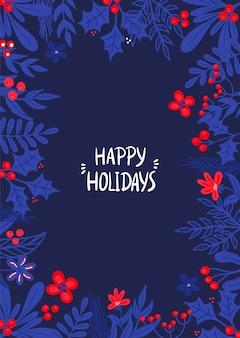 Векторный рождественский шаблон для поздравительных открыток и приглашений с веточками падуба в плоском стиле