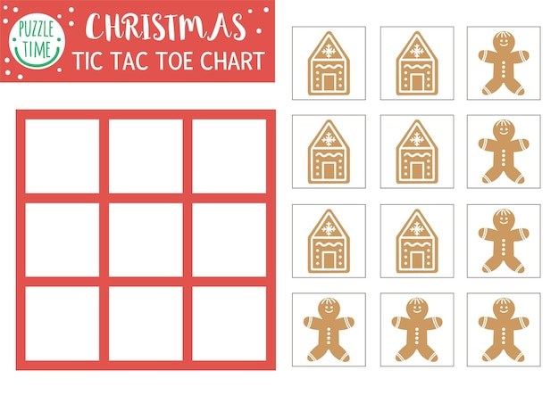 Vector christmas tic tac toe chart with cute gingerbread man. winter board game playing field with traditional characters. funny recreational printable worksheet for kids. noughts and crosses grid