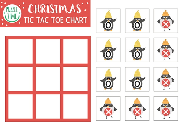 Vector christmas tic tac toe chart with cute penguin and bullfinch winter board game