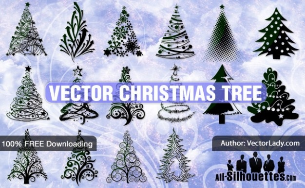 Vector christmas tree | all silhouettes