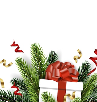 Vector christmas tree branch with christmas gift isolated on white the view from the top