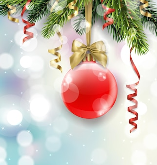 Vector christmas tree branch with red ball on blurred background with sparkles. christmas and new year background with place for your text. vector template.