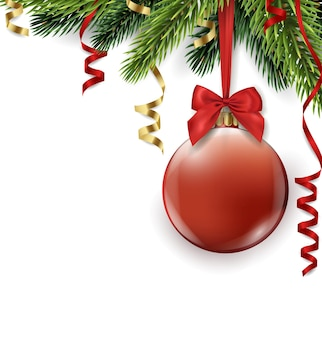 Vector christmas tree branch with red ball isolated on white christmas and new year background