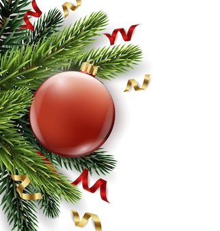 Vector christmas tree branch with red ball isolated on white the view from the top