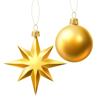 Vector christmas tree golden realistic toys set