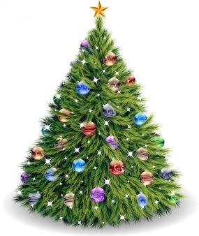 白で隔離ベクトルクリスマスツリー。