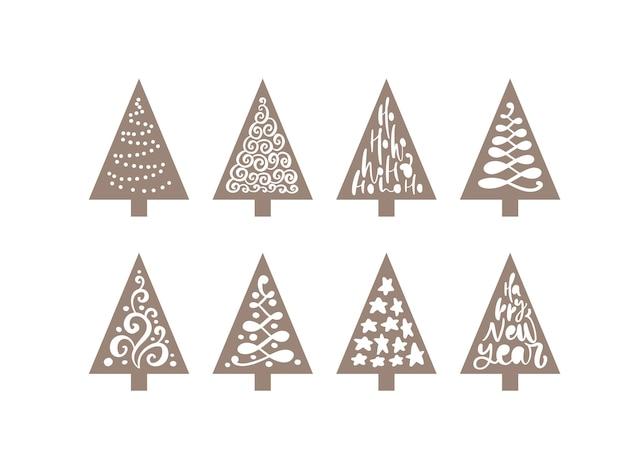 ベクトルクリスマスツリーセットレーザーかわいい。紙かわいい落書き手描きの休日の装飾。