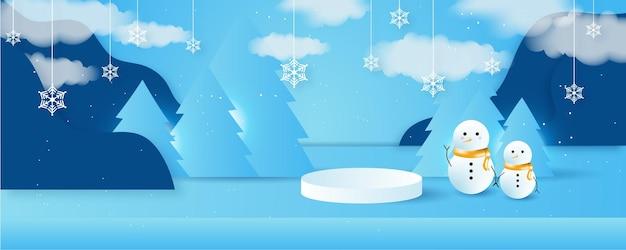 3d 스타일의 나무, 집, 눈사람, 별, 사슴, 눈이 있는 벡터 크리스마스 겨울 풍경. 3d 연단과 축제 계층화 된 배경입니다. 크리스마스 또는 새해 디스플레이 제품 판매 배너