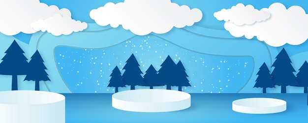 Vector christmas winter landscape with trees, houses, snowman, stars, deers and snow in 3d style. festive layered background with 3d podium. christmas or new year display product sale banner