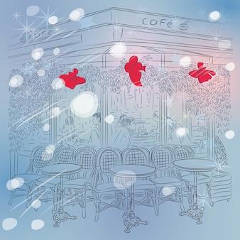 Вектор рождество зима эскиз парижского кафе