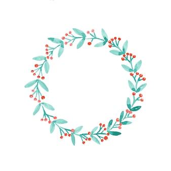 ベクトル、クリスマス、花輪、水彩画、白、背景