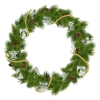 Vector christmas wreath with decorations isolated on white background