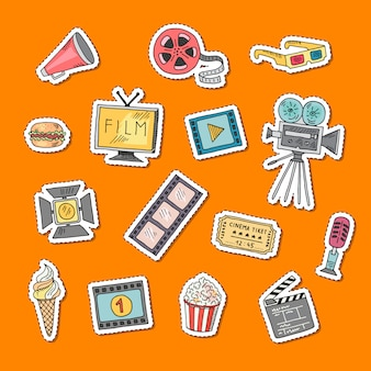 Vector cinema doodle stickers set illustration