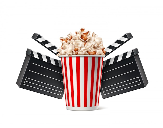 Vector cinema poster popcorn cup and clapper board