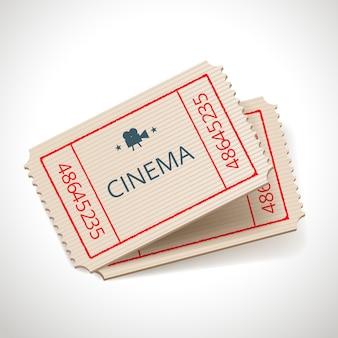 Icona di biglietto retrò cinema vettoriale isolato su bianco