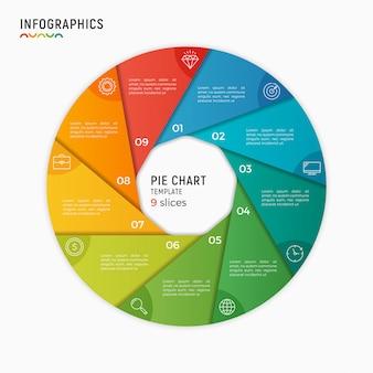 Вектор круговая диаграмма инфографики шаблон. варианты, шаги, запчасти
