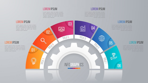 Vector circle chart template for infographics  options.