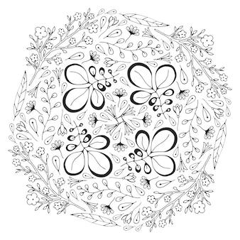 Векторный круг цветочный орнамент. взрослая книга раскраски. векторный дизайн для украшения