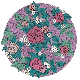 バラと葉のベクトル円花柄