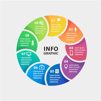 Vector circle infographics template for diagram graph presentation and chart business concept with o