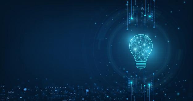 기술 배경에 밝은 파란색과 램프 전구 벡터 원 기술.