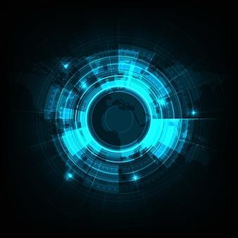 밝은 파란색 벡터 원 기술 디자인입니다.