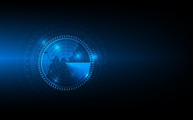 Vector circle technology with world map on blue background