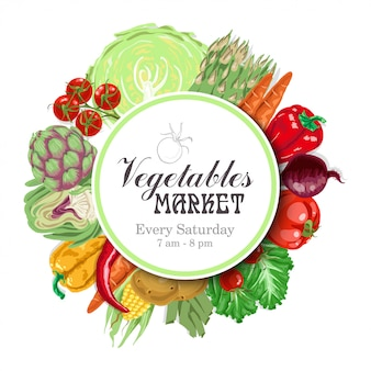 Vector circle of vegetables