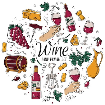 Vector circular color set with wine and cheese in doodle sketch style