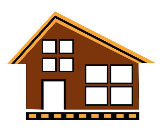 白い背景の上のストックイラストのデザインと装飾のためのベクトル都市建築アパート住宅フラットカラー一戸建て建設